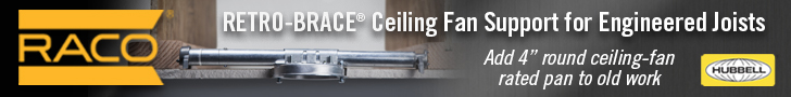 Add ceiling fan support for engineered joists with RACO 939 Retro-Brace!