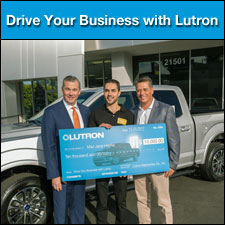 """<i>From lighting control systems and sensors to a new Ford F-150 truck,  contractors won big by purchasing Lutron's reliable and easy-to-use  systems</i><br><br>Lutron recently announced the results of its """"Drive  Your Business with Lutron"""" promotion. The sweepstakes was developed to  engage contractors with the latest products from Lutron including <a href=""""http://www.lutron.com/en-US/Products/Pages/SingleRoomControls/CasetaWireless/Overview.aspx"""">Caséta Wireless</a> and <a href=""""http://www.lutron.com/en-US/Products/Pages/StandAloneControls/C.Ldimmers/Overview.aspx"""">C.L dimmers</a>.  Prizes included 100 weekly winners chosen online, instant winners at  participating distributor accounts, and one grand prize winner of a Ford  F-150 truck and $10,000 cash."""