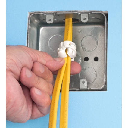 Easy, push in installation from inside or OUTSIDE electrical box!
