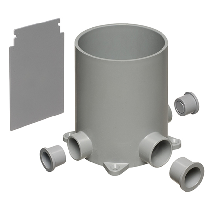 Non-metallic Concrete Floor Box with FOUR conduit hubs