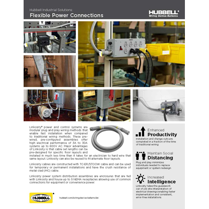 Flexible Power Connections from Hubbell Wiring Device-Kellems Featured in New LINKOSITY Solutions Sheet