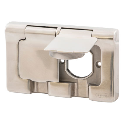 Hubbell Introduces Industry-First Weatherproof Stainless Steel Flip Covers