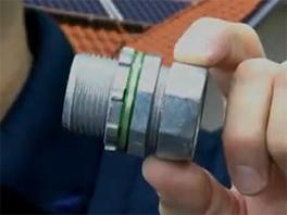 Extra Long Raintight EMT Connectors for Solar Combiner Boxes
