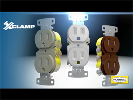 Hubbell Wiring Xclamp Duplex Receptacle External Clamping