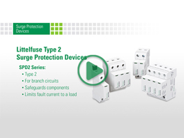 Littelfuse SPD2 Series of Type 2 Surge Protection Devices