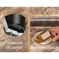 Arlington's Countertop Box Kits offer multiple options for installing a Listed receptacle in a countertop up to 1-1/2 inches thick. These round plastic boxes come with brass or nickel-plated trapdoor covers. They install by simply tightening two screws that hold the spring steel clip secure against the underside of the countertop.