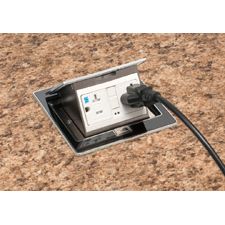 Arlington's steel Countertop Box Kits offer multiple options for installing a Listed receptacle in a countertop up to 1-1/2 inches thick. These steel boxes come with stainless steel or black trapdoor covers. Install them by simply tightening two screws to hold the spring steel clip secure against the underside of the countertop. <br>