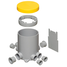 "Made of heavy-duty plastic, Arlington's NEW  FLBC4502 4.5"" non-metallic concrete floor box has more! – SIX conduit hubs and FOUR plugs. And THREE options for positioning the low voltage divider in the box."