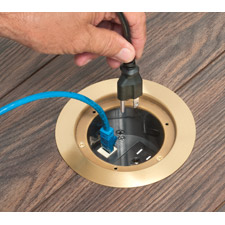 "Arlington's Listed FLBC4580 IN BOX™ Cover Kits install receptacles, flush, in a 4.5""concrete floor box."